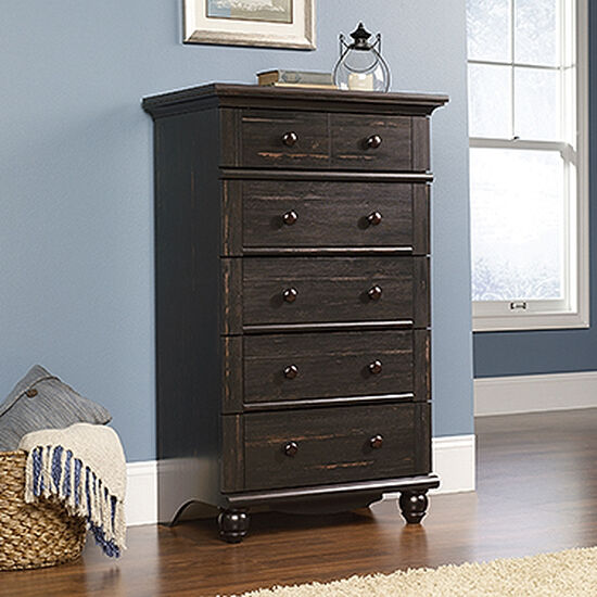 """50"""" Traditional Five-Drawer Chest in Antiqued Brown"""