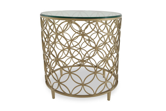 Contemporary Interlaced Circle Side Table in Gold