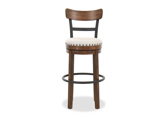 Nailhead-Trimmed Industrial 43'' Swivel Barstool in Brown