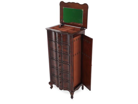 49'' Curved-Front Traditional Jewelry Armoire in Brown