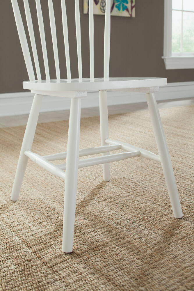 Two Piece Spindle Back 36 Chair Set In White Mathis