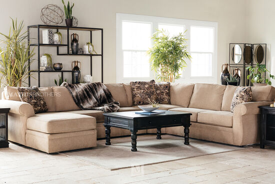 """Casual 127"""" Sectional in Sand"""