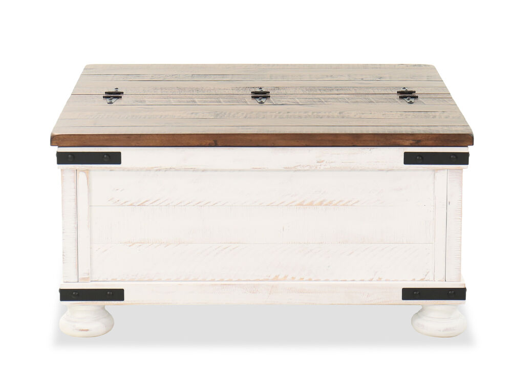 36 Rectangular Storage Cocktail Table In Vintage White Mathis Brothers Furniture