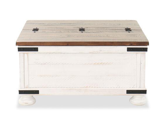 "36"" Rectangular Storage Cocktail Table in Vintage White"