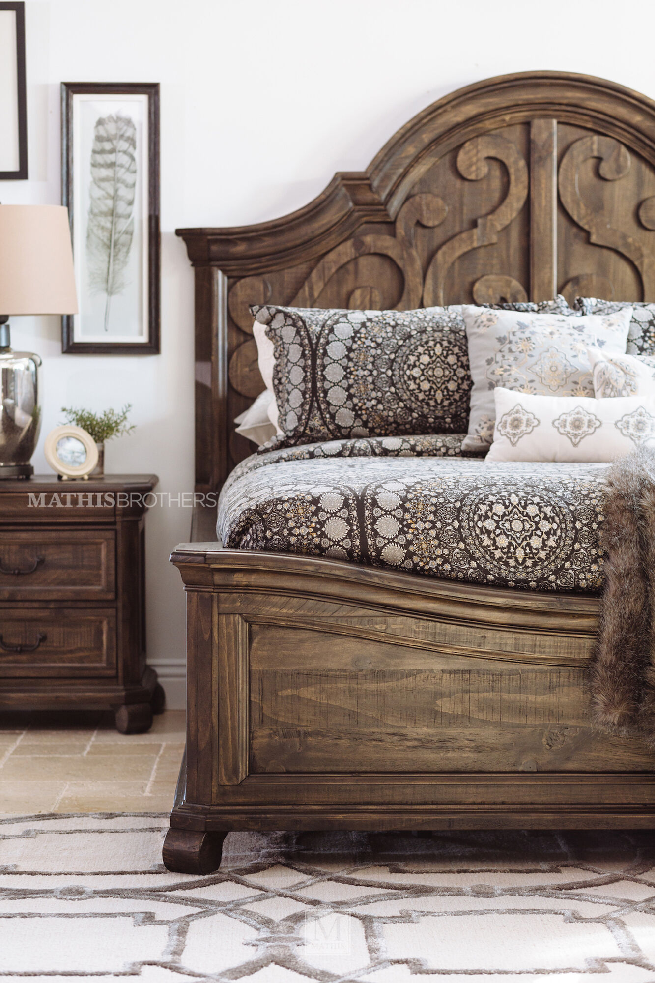 Contemporary scroll carved arch panel bed in peppercorn