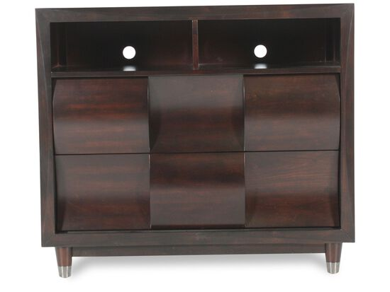 "38"" Contemporary Woven-Patterned Media Chest in Black Cherry"