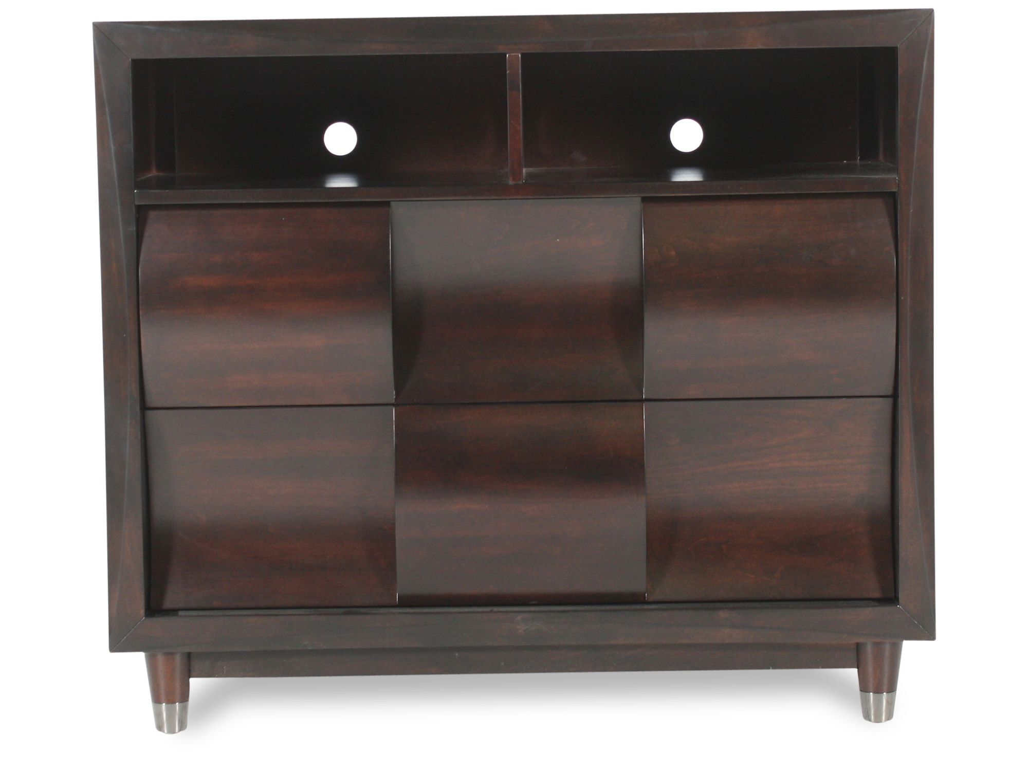 38u0026quot; Contemporary Woven Patterned Media Chest In Black Cherry