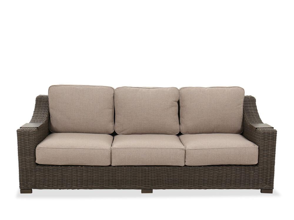 Three-Cushion Contemporary Patio Sofa in Brown