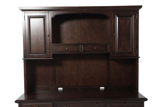 "75"" Contemporary Two-Door Credenza Hutch in Molasses Brown"