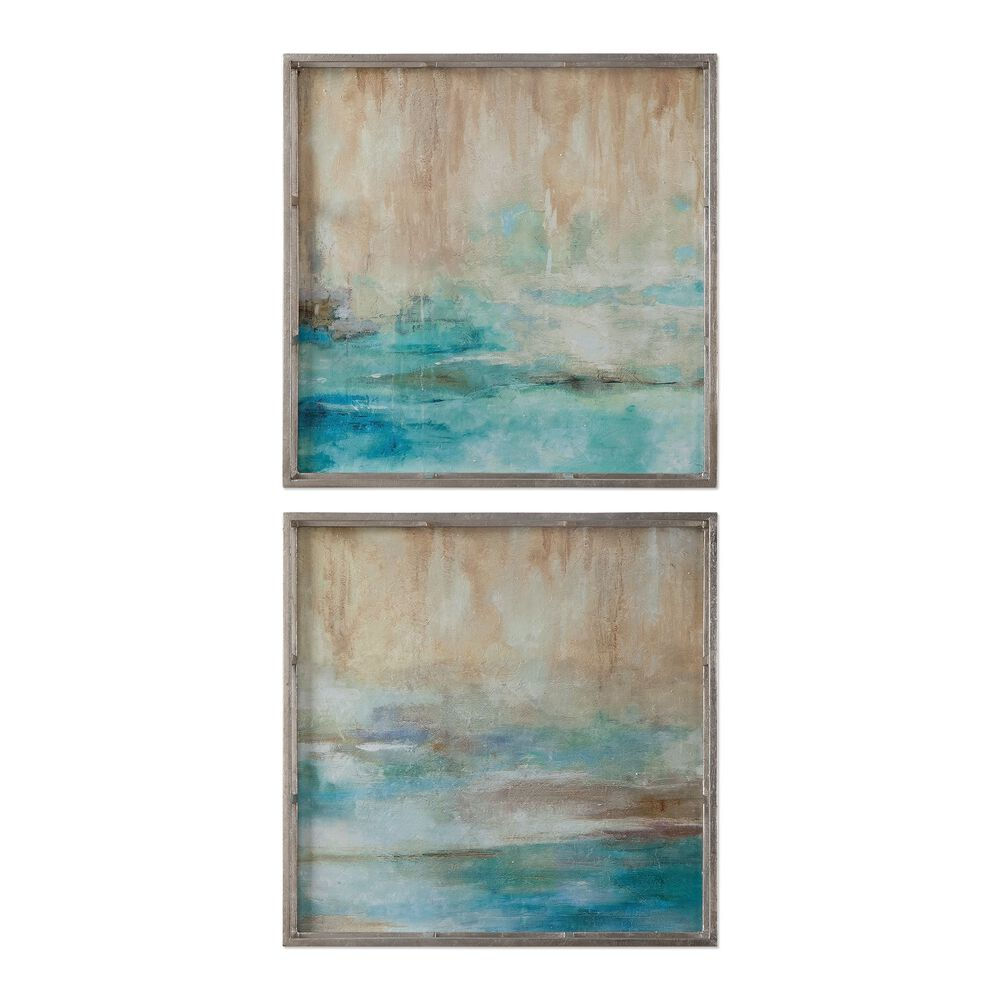 Two-Piece Open Frame Abstract Art