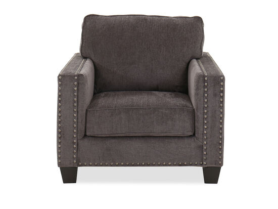 """Contemporary Nailhead-Accented 39"""" Chair in Smoke"""
