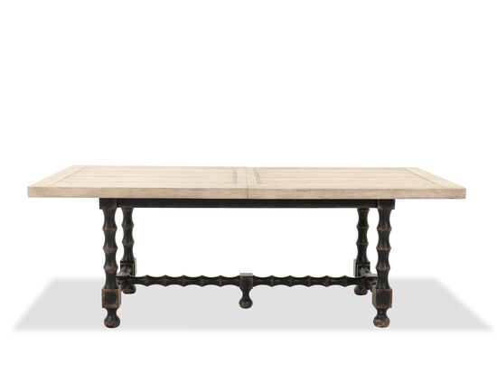 Rectangular Extension 84'' to 120'' Trestle Dining Table in Flaky White/Black