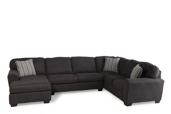 "Three-Piece Microfiber 145"" Sectional in Dark Slate"