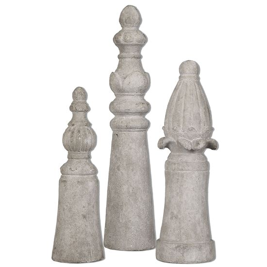 Three-Piece Distressed Finials in Aged Ivory