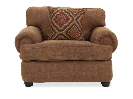 "Transitional 51"" Rolled Arm Chair in Brown"