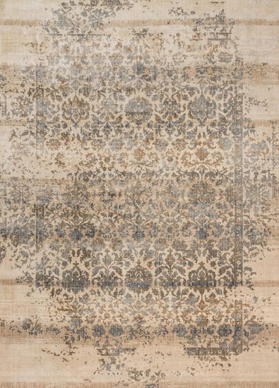 "Contemporary 2'-7""x4' Rug in Ivory/Quarry"