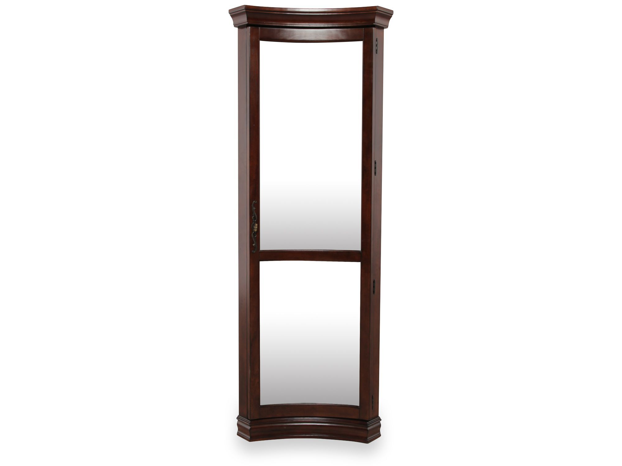 Glass Shelved Traditional Concave Corner Curio In Rich Cherry