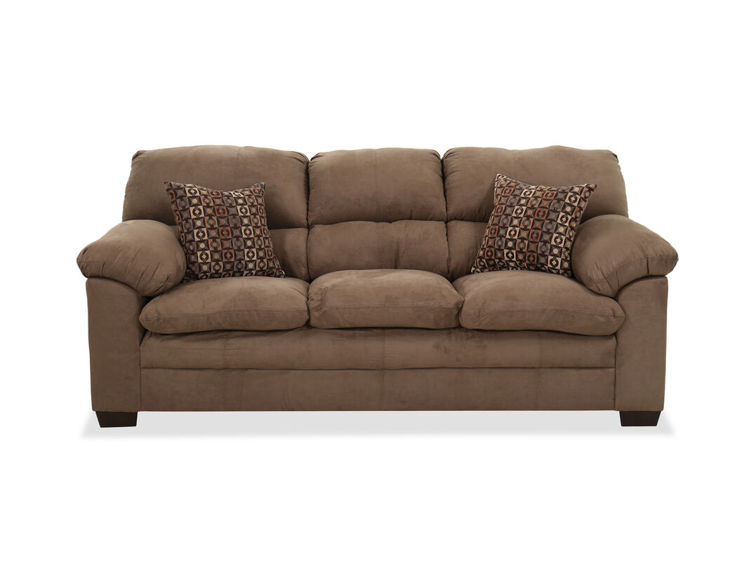 Contemporary 86 Pillow Top Arm Sofa In Brown Mathis Brothers Furniture