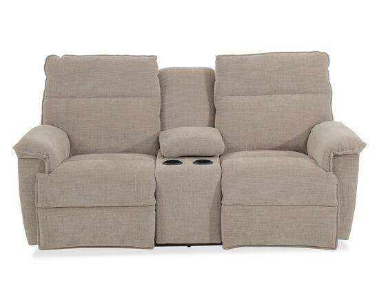 "Power Reclining Casual 79"" Loveseat with Console in Gray"