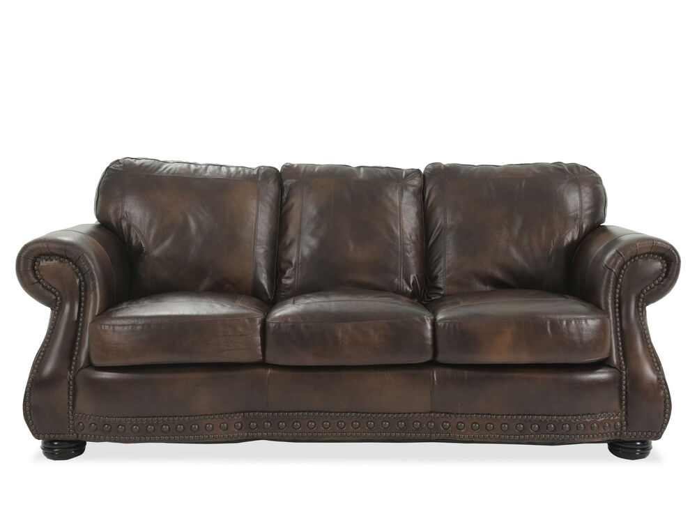 Images Traditional Leather 88 Sofa In Brown