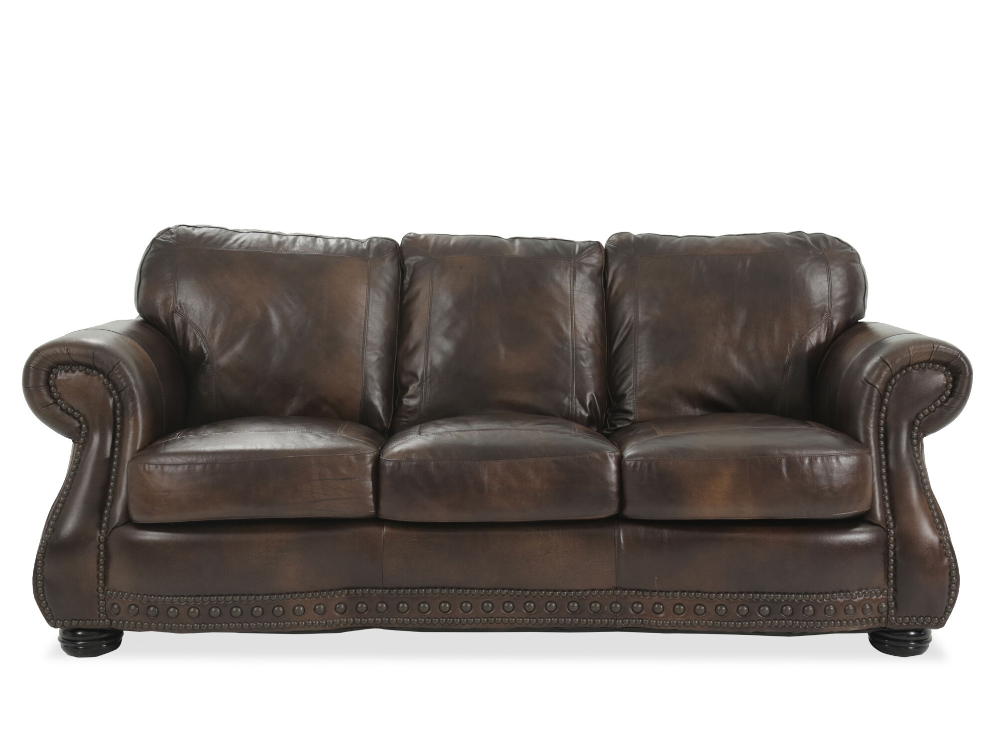Ordinaire Traditional Leather 88u0026quot; Sofa ...