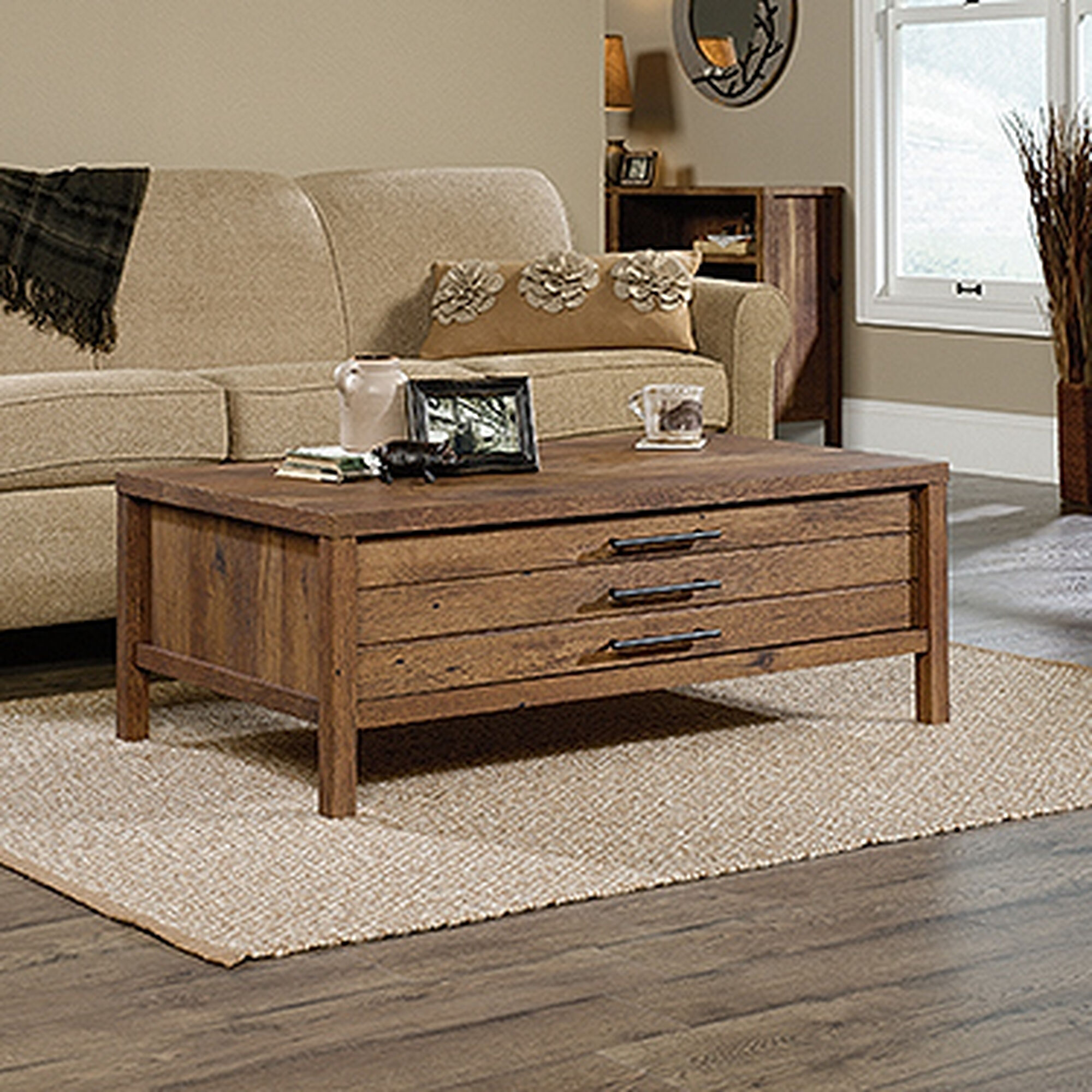 Rectangular Contemporary Coffee Table In Vintage Oak Mathis
