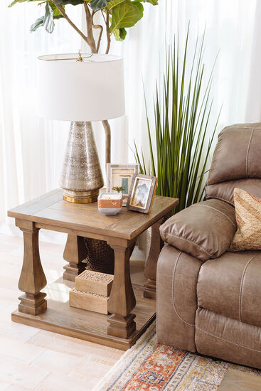 Traditional End Table in Gray