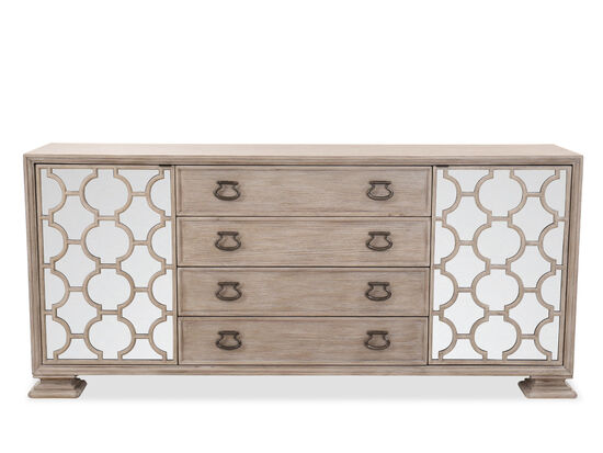 "Traditional 81.5"" Four-Drawer Buffet in Sandstone"