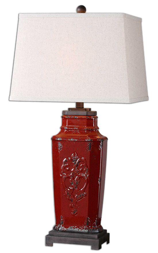 Embossed Hardback Shade Lamp in Red