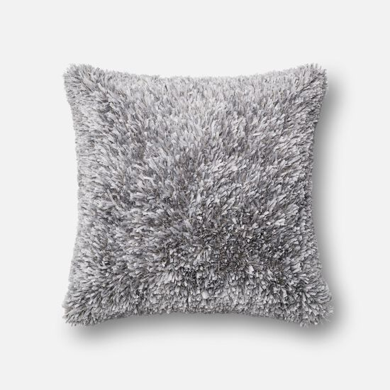 "Contemporary 22""x22"" Cover w/Poly Pillow in Grey"