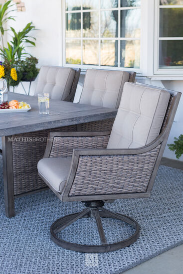 Casual Swivel Dining Chair in Brown