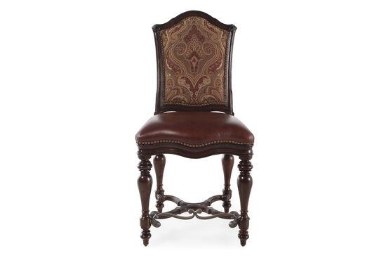 Engraved Stretcher 49'' Chair in Dark Brown