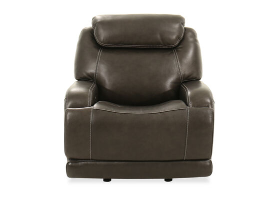 Leather Power Headrest Glider Recliner in Pewter