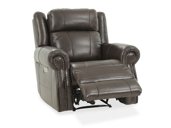 """Leather 41"""" Power Reclinerin Brown"""