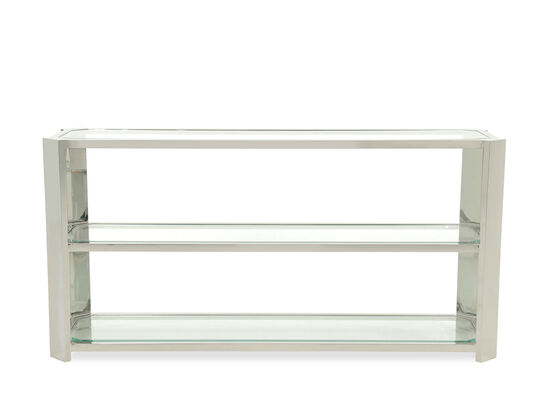 Two-Glass Shelf Stainless Steel Console Table in Silver