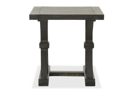Contemporary Trestle Base End Table in Dark Brown