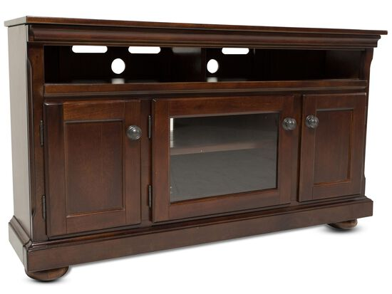 """30"""" Three-Door Casual Entertainment Console in Burnished Brown"""