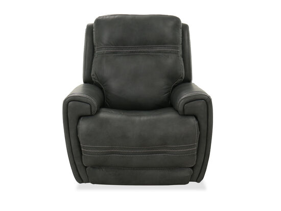 "Casual 37"" Leather Power Glider Recliner in Gray"