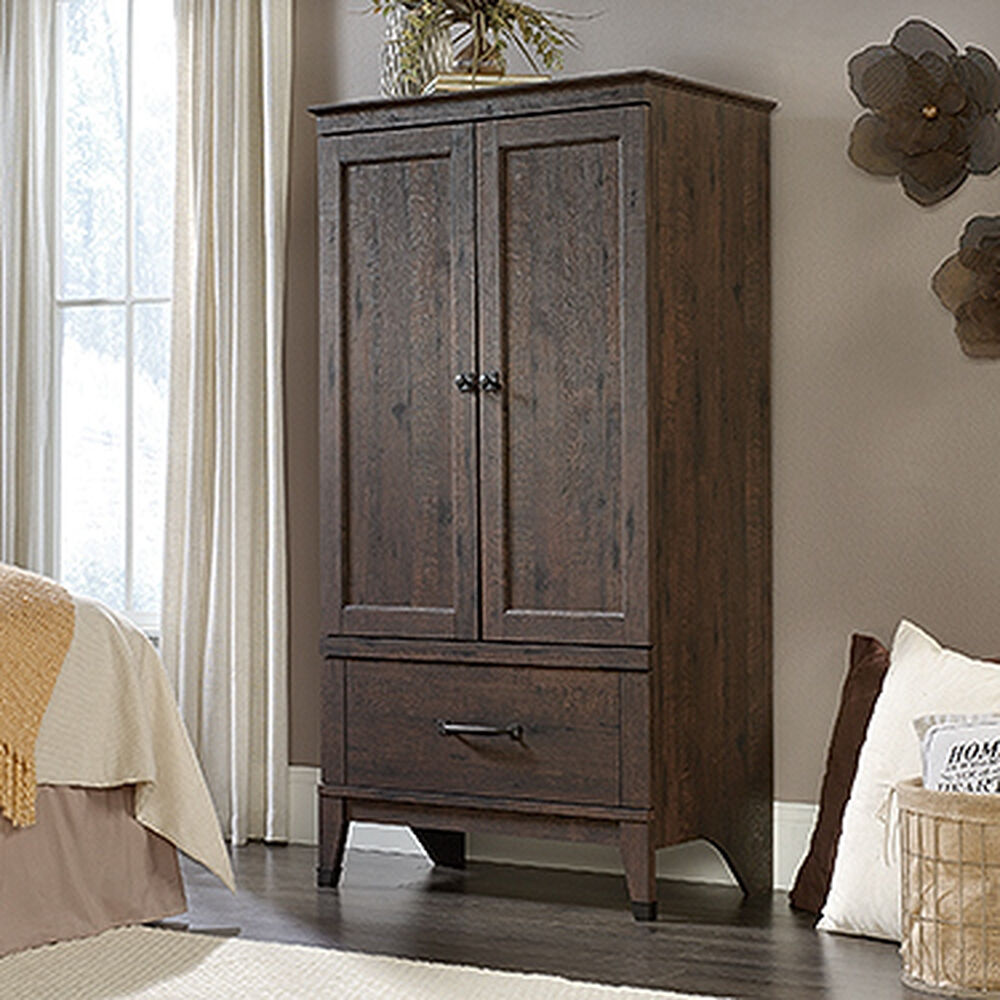 "66"" Contemporary Armoire in Coffee Oak 