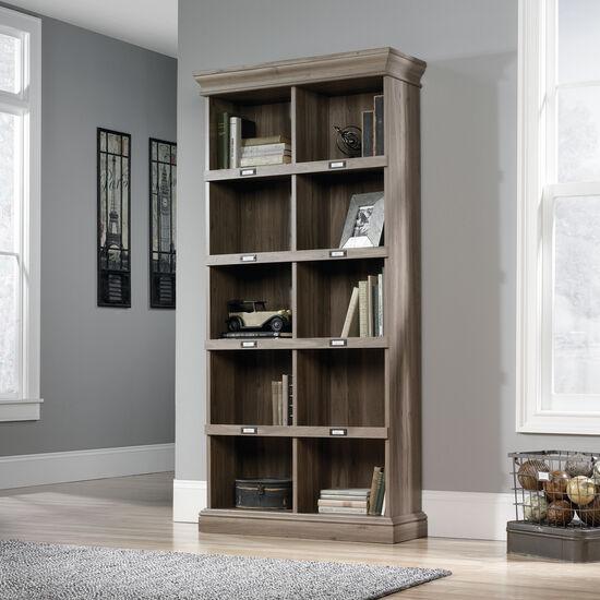 Transitional Tall Open Bookcase in Salt Oak