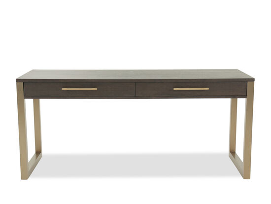 "68"" Contemporary Two-Drawer Short Desk in Midnight Brown"