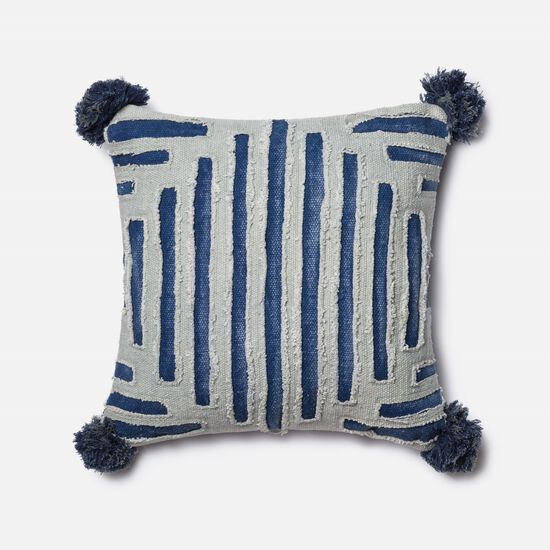 """Contemporary 18""""x18"""" Cover w/Down Pillow in Blue/Grey"""