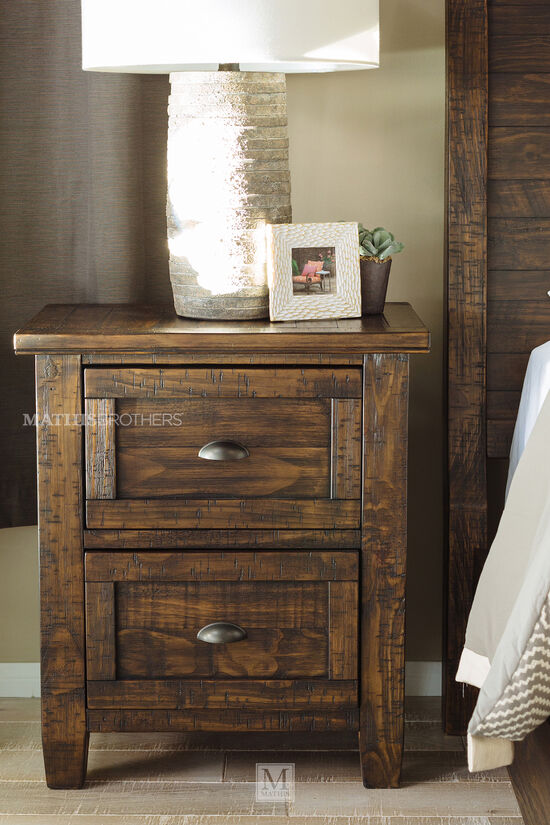 "29.5"" Traditional Solid Pine Nightstand in Golden Brown"