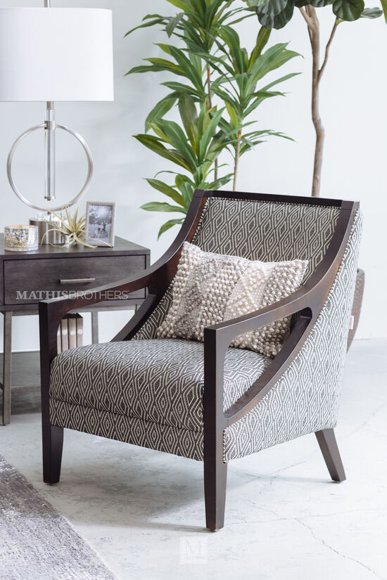 Diamond Patterned Contemporary Chair in Charcoal