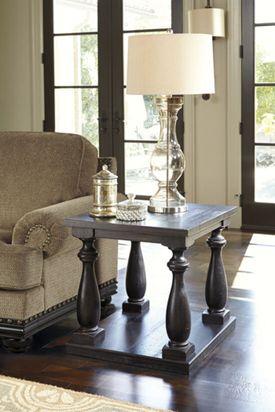 Casual Rectangular End Table in Black