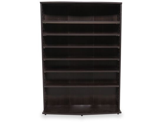 Contemporary Adjustable Shelf Storage Tower in Dark Cherry