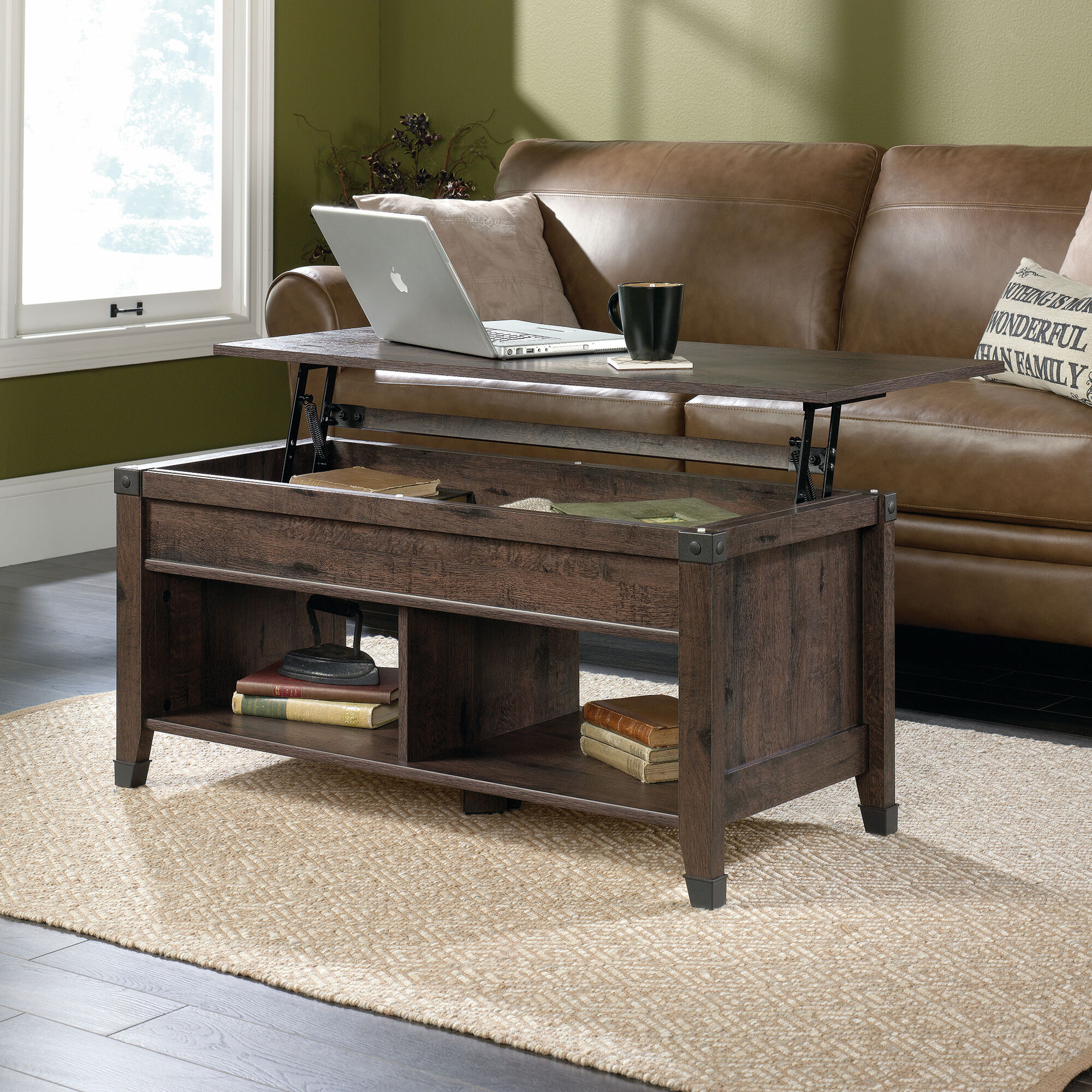 Rectangular lift top contemporary coffee table in coffee