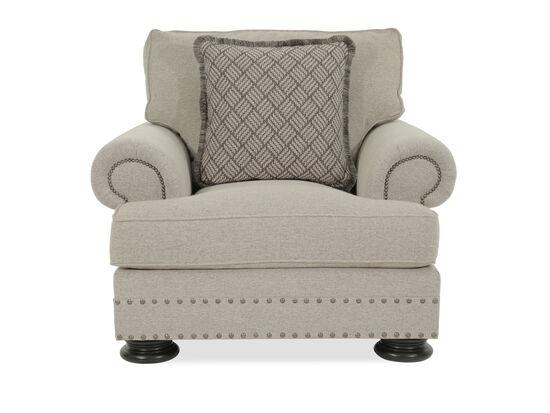 """Nailhead Accented European Classic 46"""" Chair in Beige"""