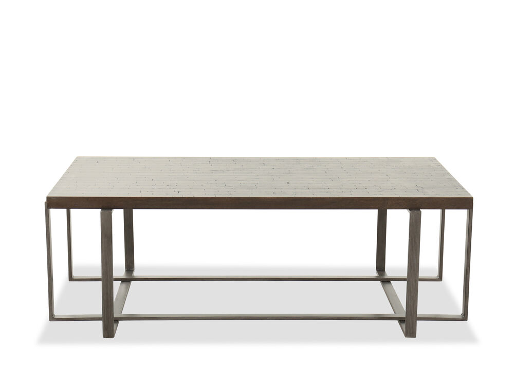 Rectangular Contemporary Cocktail Table in Brushed Metal