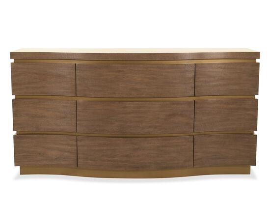 "36"" Modern Nine-Drawer Dresser in Brown"